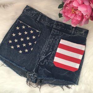 Pants - Vintage DIY American flag high waist cutoff shorts